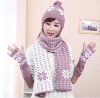 2014 new design Wool scarf hat gloves three piece suit feel hat scarf glove warm winter knitting wool hat scarf