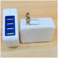 4 usb port travel charger 5V maximum 4A output US standard wall carregador plug foldable For all smart phones tablet pc MP3 MP4