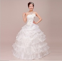 New Bride Wedding Dresses Flower Drill Sweet Bandage Princess Dress Wrapped Chest Ball Gown Wedding Dresses WD060