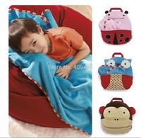 Zoo Travel Blanket Kids Boys Girls Cartoon Multifunction Bath Towel, Pillow, Cartoon Handbag Free Shipping Wholesale 10pcs/lot