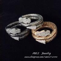 Personalized Rhinestone Snake Bangle Bracelets Fashion Jewelry (3 Colours) Free Shipping