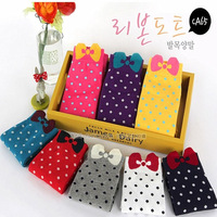 Women's Socks Casual Sports Socks With Color Bow Cotton Girl Socks 10pairs/lot Free Shipment