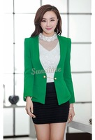 M-XXL Office Lady Women Blazer Slim Long Sleeve V-neck Tops Jacket Coat Outwear Green Color M-XXL B11 CB031302