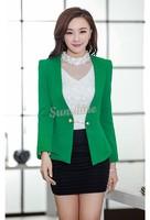 M-XXL Office Lady Women Blazer Slim Long Sleeve V-neck Tops Jacket Coat Outwear Green Color M-XXL B11 CB031302