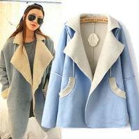 Women Autumn spring Korean Style inner fabric open stitch turndown solid Cotton Wool Lapel Long Jacket Coat black blue free size