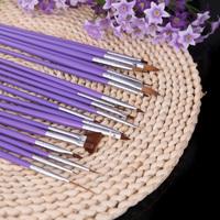 Nail Brushes Nail Art Design Painting Tool Pen Polish Brush Set Kit DIY Professional Purple  nail tools 19pcs