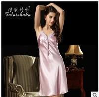 100% silk women dress  real mulberry silk nightgown /night dress genuine silk women sleeping dress S257