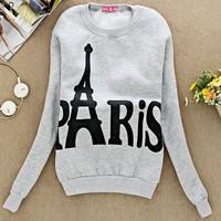 2014 Autumn Women's Sweatshirts Hoodies Paris Eiffel Tower print Top Ladies Outerwear Jacket O-neck Long Sleeve SV19 CB031175