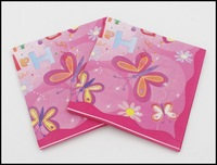 Food-grade Happy Birthday Paper Napkin With Butterfly Tissue Napkin Pink Supply Decoration Paper 33cm*33cm 1pack/lot