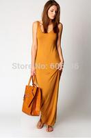 Elegant Women's Floor-Length Vest Dress,Solid Color Casual Pencil Dress,Stretchy Ladies' Sheath Evening Party Nightclub Dress