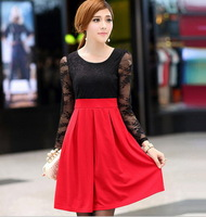 Women New Lace Chiffon Patchwork High Waist Dresses Female Red Spring Summer Lace Asymmetrical Belt Casual Dress Clothing tunic