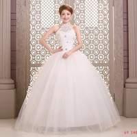 Romantic Wedding Dresses Halter Bridal gown Off Shoulder Crystal White Lace Natural Vestido de noiva X026
