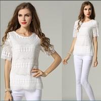 M-5XL 2014 Summer Women European Large Size XXXXL Tassel Short-sleeve Embroidery Cutout Lace Shirts Slim Blouses Black/ White