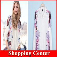 2014 New Top Quality Autumn Summer Women Long Sleeve Shirts Chiffon Blouse Flower Printed Shirt Tops dropshipping