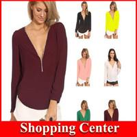 Freeshipping New 2014 Sexy Deep V-Neck Women T shirt Zipper Long Sleeve Tops Slim Hoody Chiffon Tee Nightclub femininas