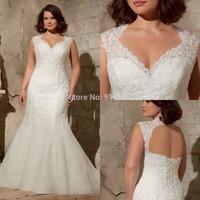 Hot Selling V-neck with Lace Mermaid Keyhole Back Lace up Wedding Dresses 2015 Plus Size