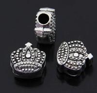 2pcs/lot 925 Silver king crown big hole bead new arriveal European Beads Fits clam pandora Bracelets necklaces pendants