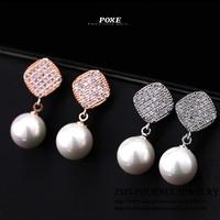 ZSE021 2014 New Luxury AAA Cubic Zirconia Geometric Pearl Stud Earrings Women fashion Jewelry POXE boucle d'oreille Christmas