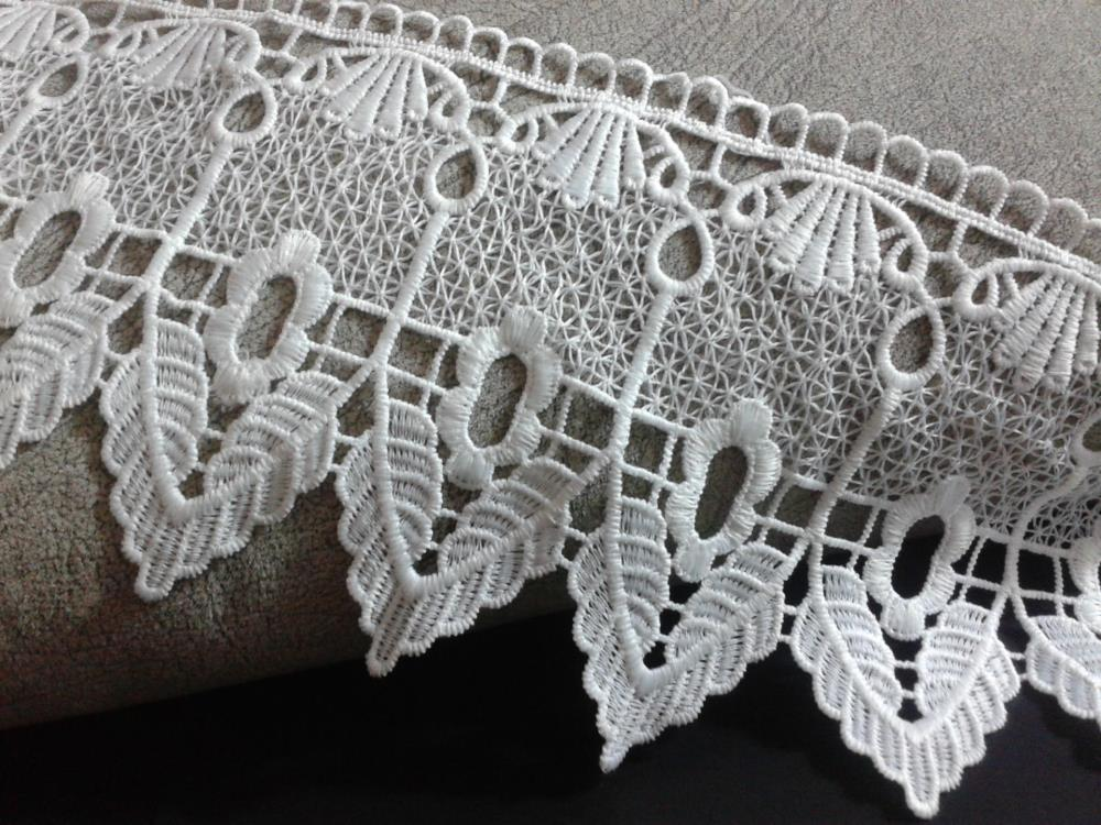 Wholesale Wholesale 15cm White Guipure Lace Fabric Embroidered Lace Trim Water Soluble Crochet Sewing Lace Supplies AC0288(China (Mainland))