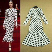 Free Shipping High End Runway Fashion 2015 Elegant Long-Sleeve Polka Dot Print Fish Tail Pleated Women Evening Bodycon Dress