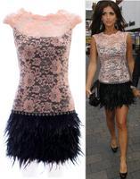 Women Autumn Dress 2014 New Sexy Lace Feather Prom Dress Mulheres moda vestido de baile renda Party dresses Vestidos de festa