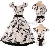 Grace Karin White&Black Print Flower Audrey Hepburn Cotton Short 50s 60s Vintage Retro Rockabilly Swing Pinup Women Dress CL4598
