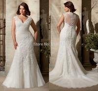 Elegant Cap Sleeves Bridal Gown Sheer Back Organza Plus Size Wedding Dresses 2015 Lace