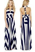 Versatile Straps Navy White Stripe Maxi Dress LC6700