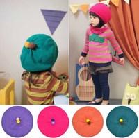 1 pcs Retail 2014 New Fashion Girls Beret Winter Knitted Beanie Hat Kids Girl Crochet Beret Caps 50% 2269
