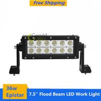 New 7.5'' 36w Epistar 60 Degree Flood Beam 12x3w LED Work Light Bar for Off-road car ATV UTV SUV truck engineering vehicle