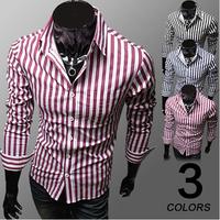 2014 autumn new men's shirts Korean Fashion Slim striped long-sleeved shirts