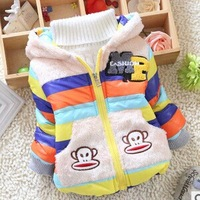 Free shipping 2014 Winter New Baby Thickening down coat stiped cartoon boys jumpsuit A342