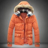 Parka men down cotton jacket 2014 winter jacket men new hooded jacket big yards parkas size m-xxxxxl with faux fur hat