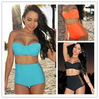 2014 High Waist Two Piece Bikini Set,Hollowed Sexy Swimwear, four colors, S-L, Fashion Ladies Swimsuit
