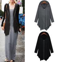 Woman Winter Hooded Irregular Hem Pockets Zipper Autumn Outwear Thin Coat # 65885