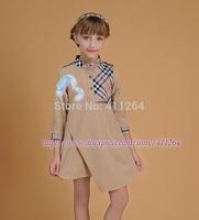 5pcs/lot(2-6Y) Wholesale autumn dress classic plaid dress Stand collar Lattice stitching children clothes Asymmetrical hem girls