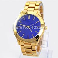 2014 New Fashion Women/Man Watch Blue Dial Steel Gold Silver Ladies quartz Wristwatches women brand watches dress watches