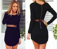 2015 women New Style party dress Black Bodycon Long Sleeve mini dress Mesh Stretchy Warm Fabric Dress vestido S-XL  LJ071XGJ