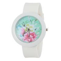 Women Dress Watch Casual Watch Rhinestone Watches Fashion Watch Round Watch with Silicone Strap -5