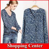 Freeshipping 2014 new woman shirt print fashion European and American style wild temperament cotton V-neck shirt printing