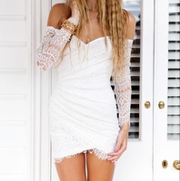 Wholesale Free Shipping White and Black Colour Ladies Long Sleeve Lace Off the SHoulder Dress Sexy Mini Club Night Dress