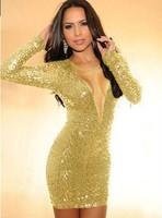 2014 New Sexy Backless Bandage Bodycon Dress Deep V Vestidos De Glod Pencil Dress Women Celebrity Evening Gold Dresses Clubwear
