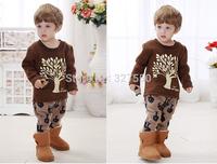 2014 Winter Baby Clothes Toddler Chrismas Comfortable Cotton Suit ,Boy tree clothing set BGT-395