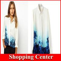Promotion 2014 new European style fashion woman chiffon Printed shirt long sleeve hot wholesale dropshipping