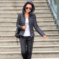 2015 New Coat Women Sets Leisure Down Jacket Slim Print Dot Winter Women Down Set Warming Hoody Coat Free Shipping A180-90