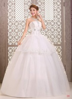 Fashion Wedding Dresses Crystal Small Bow Waistband Bridal gown Strapless Ball Gown Natural Back Lace Up Vestido de noiva X035