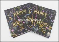 Food-grade Black Happy Birthday Paper Napkin With Dot Tissue Napkin Pink Supply Decoration Paper 33cm*33cm 1pack/lot