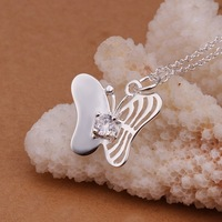 Hot Sale!!Free Shipping 925 Silver Necklace,Fashion Sterling Silver Jewelry Solitaire Butterfly Necklace SMTN354