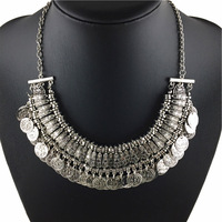 2014 New Wholesale Women's Fashion Silver Coins Pendant Statement Bib Chunky Charm Choker Necklace statement Necklaces women