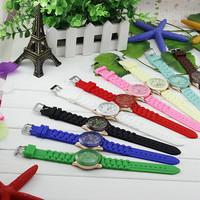 Free Shipping New Fashion Silicone GENEVA Watch Hot Selling Women Dress Watch Women Rhinestone Watches 1piece